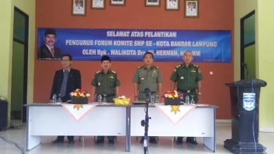 Herman HN kukuhkan forum komite SMP Bandar Lampung | Nizar/jejamo.com