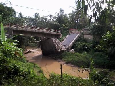 Jembatan di Kecamatan Sendang Agung, Lampung Tengah, putus pada Januari 2015 lalu | Widya/jejamo.com