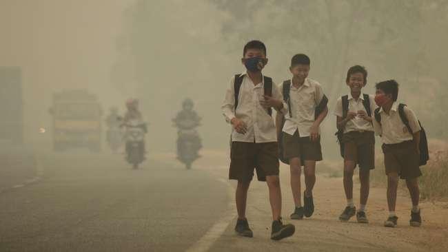 Murid sekolah korban kabut asap | ist