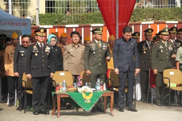 Upacara peringatan HUT ke-70 TNI di Lapangan Korpri, Kantor Gubernur Lampung, Senin, 5/10/2015 | Sugiono/jejamo.com