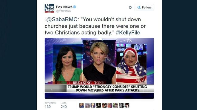 Saba Ahmed tampi di FOx News dengan hijab bermotif bendera Amerika | twitter