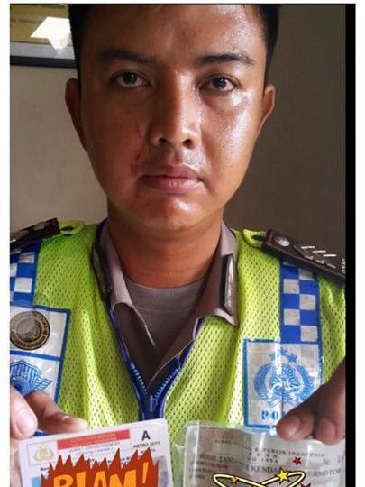 Anggota Polantas Kelapa Gading dicakar