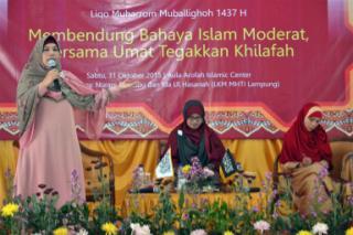Liqo Muharram Muballighoh yang diadakan Muslimah HTI Lampung di Islamic Center, Sabtu, 31/10/2015. | Ist