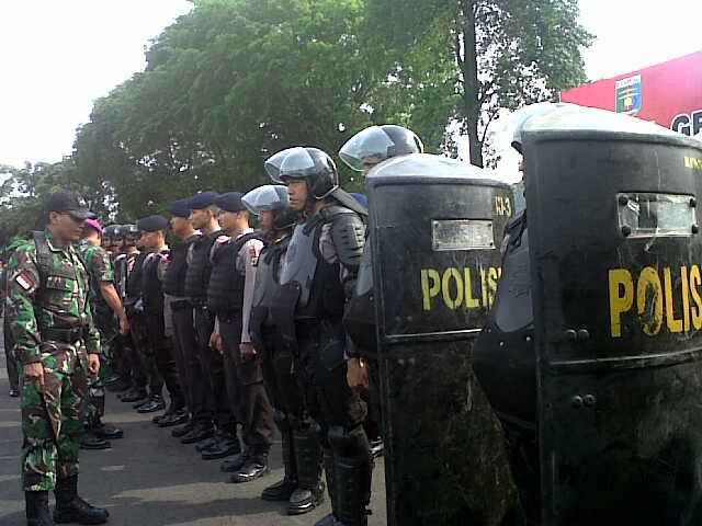 Apel pasukan persiapan pengamanan presiden di Lapangan Korem 043/ Gatam Saburai Bandar Lampung, Kamis 5/11/2015. | Andii/Jejamo.com