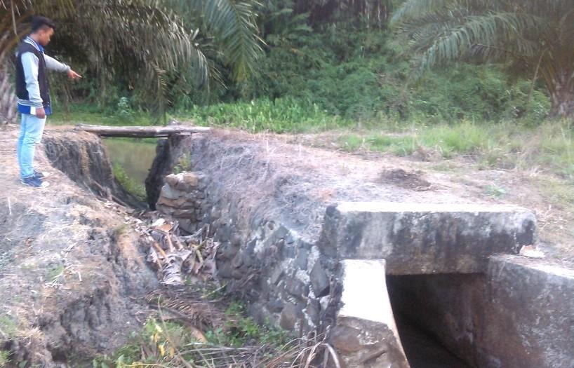 Kondisi gorong-gorong di Way Curup, Mataram Baru, Lampung Timur yang rusak akibat arus sungai sungai Way Curup. | Winar/Jejamo.com.