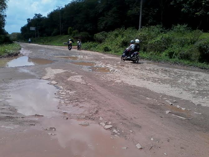 Beberapa titik di ruas Jalan Ir Sutami, kilometer (Km) 25, Kecamatan Tanjung Sari, Kabupaten Lampung Selatan, rusak parah |Sigit/jejamo.com