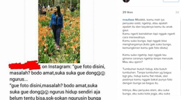 Ngotot Injak Kebun Bunga Amaryllis, Remaja Putri Ini Jadi Bahan Meme Lucu