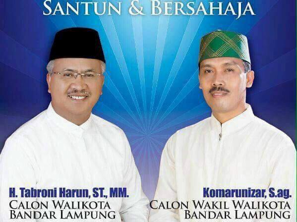 Calon wali kota dan wakil wali kota Bandar Lampung nomor urut 3, Thabroni-Komarunizar. | Ist.