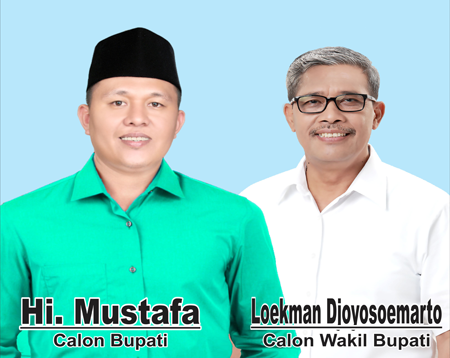 Calon bupati dan wakil bupati Lampung Tengah, Mustafa-Loekman. | Ist.
