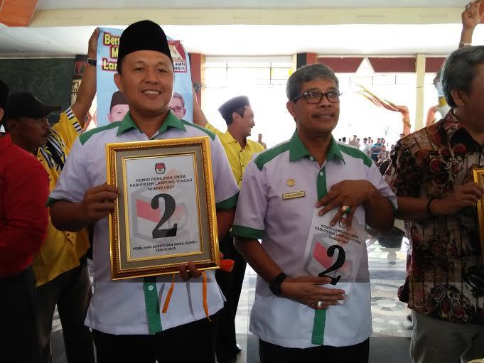 Bupati dan wakil bupati terpilih Lampung Tengah, Mustafa-Loekman. | Raeza/Jejamo.com