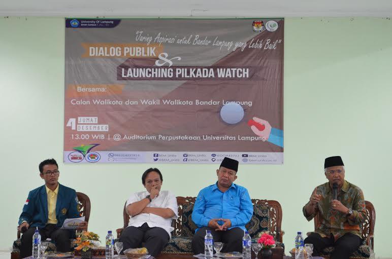 Dialog publik dan launching Pilkada watch di Aula Fakultas Pertanian Unila, Jumat 4/11/2015. | Sigit/Jejamo.com