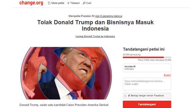 Puluhan ribu netizen Indonesia menolak Donald Trump dan bisnisnya masuk ke Indonesia. | Ist.