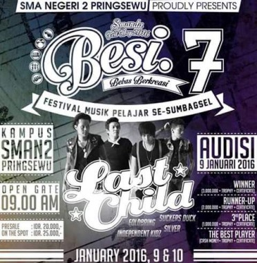 Besok Last Child Manggung di Festival Musik Pelajar SMA 2 Pringsewu