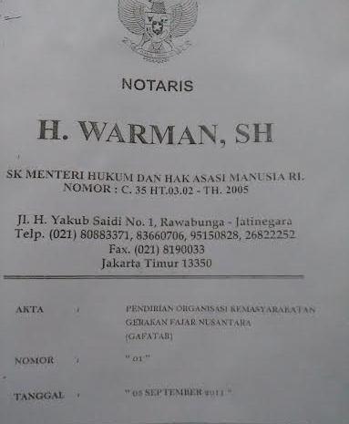 Akta notaris Gafatar yang ditemukan bersamaan dengan dokumen lainnya, di salah satu rumah warga di Lampung Tengah. | Tyas Pambudi/Jejamo.com