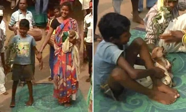 JHARKHAND, INDIA - JANUARY 19, 2016: Seven-year-old Mukesh was married off to a bitch to ward off evil spirits in Manik Bazar area of Jharkhand.nnPictures Supplied By: Cover Asia Press