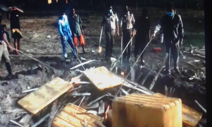Kepala Balai Karantina Pertanian Wilker Bakauheni Azhar, sedang memusnahkan daging celeng illegal di kantor balai setempat, Senin, 11/1/2016. | Heri Fulistiawan/ Jejamo.com