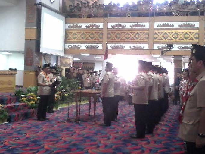 Pelantikan pengurus Pramuka Lampung periode 2015-2020, di Balai Keratun Bandar Lampung, Rabu, 13/1/2016. | Widyaningrum/Jejamo.com