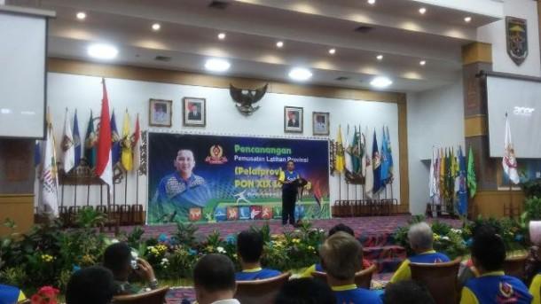 Gubernur Lampung Ridho Ficardo saat memberikan sambutan dalam Pembukaan Pusat Pelatihan Provinsi (Pelatprov) untuk PON di Jawa Barat tahun ini. Acara diadakan Kamis, 25/2/2016. | Arif Wiryatama/Jejamo.com