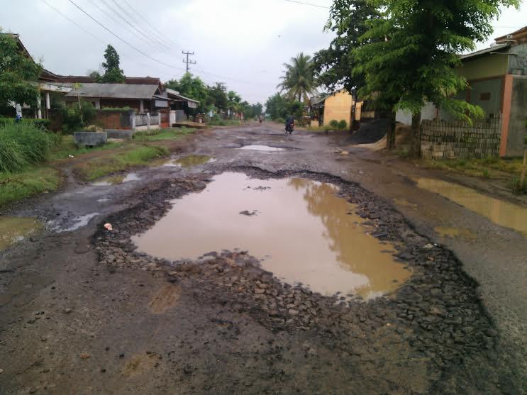 Jalan Provinsi yang berada di Desa Banjar Rejo, Kecamatan Batanghari, Lampung Timur, rusak parah | Suparman/jejamo.com