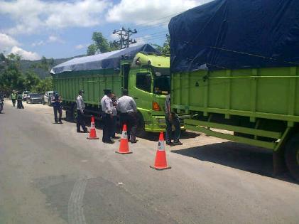 Seratusan Kendaraan Tonase Berlebih Kena Razia Dishub Lampung
