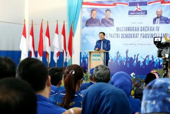 Ketua DPD Demokrat Lampung, M. Ridho Ficardo saat memberi sambutan pada pembukaan Musda IV partai Demokrat Lampung di Aula Yudhoyono, Sekretariat DPD Demokrat Lampung, Sabtu 27/2/2016 | Tama/jejamo.com