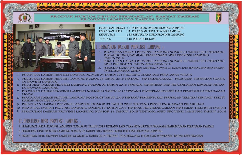 Advertorial: Produk Hukum DPRD Lampung Tahun 2015