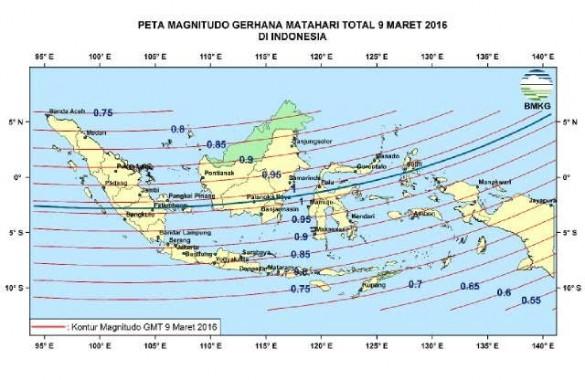 Peta magnitudo gerhana matahari total. | BMKG