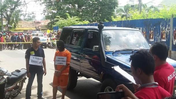 Polresta Gelar Pra Rekonstruksi Pembunuhan Siswa SMKN 2 Bandar Lampung Dwiki Dwi Sopyan