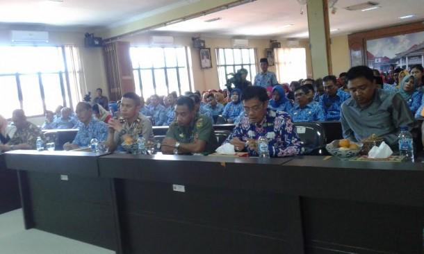 Peserta sosialsiasi empat pilar kebangsaan di Aula Rajabasa Pemkab Lampung Selatan, Kamis, 17/3/2016. | Ist