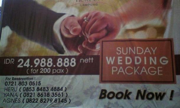 Hotel Horison Lampung Tawarkan Sunday Wedding Package