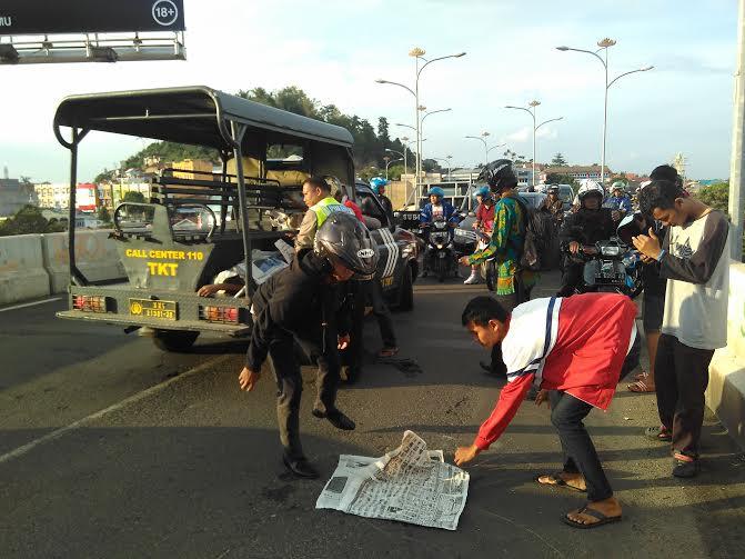 TKP kecelakaan di Flyover Gajah Mada | Andi/jejamo.com