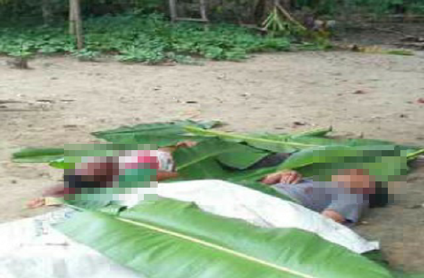 Dua mayat warga Dusun Terang Sakti, Tiyuh Gunung Terang, Kecamatan Gunung Terang, Kabupaten Tulangbawang Barat yang diduga dihabisi oleh Irawan CS warga Dusun Terang Agung | ist