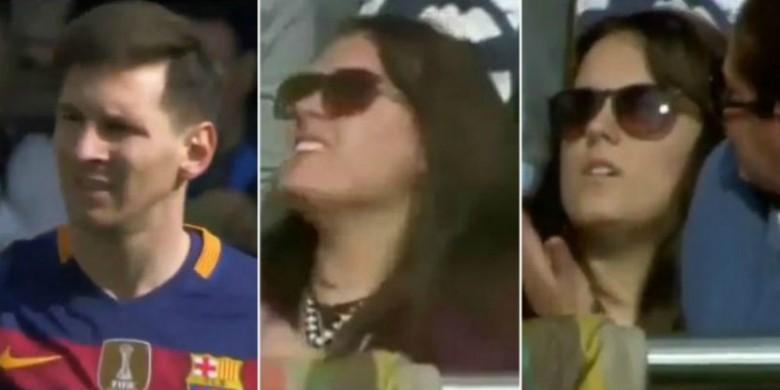 Lionel Messi dan suporter Madrid yang mengalami cidera akibat tendangan bola Messi. | Ist.