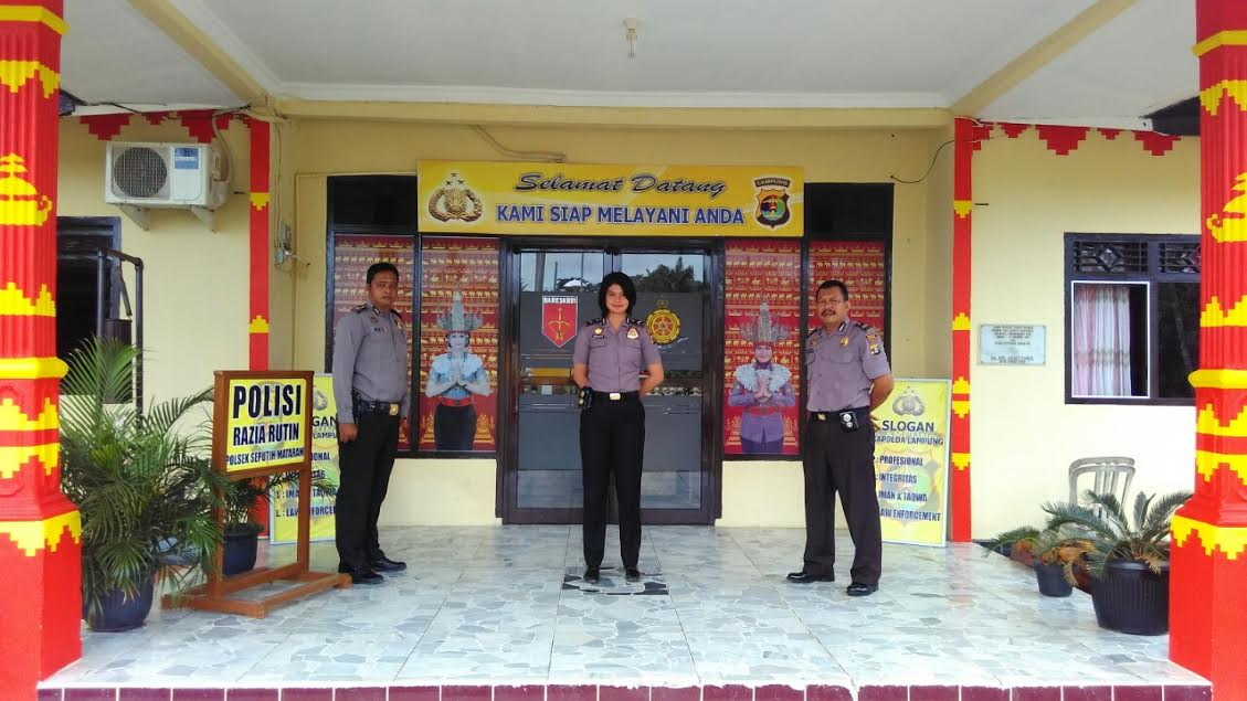 Sentuhan ornamen khas Lampung menghiasi kantor Polisi Sektor Kecamatan Seputihmataram, Lampung Tengah. | Raeza/Jejamo.com
