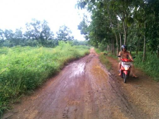 Jalan di Desa Curup Guruh Kagungan Kecamatan Kotabumi Selatan Lampung Utara kondisinya rusak parah. Foto dibidik Minggu, 17/4/2016. | Rengki/Jejamo.com