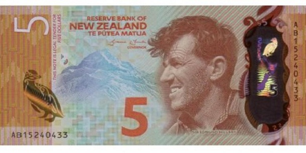 Uang kertas pecahan 5 dolar Selandia Baru ditetapkan sebagai uang kertas terbaik di dunia. | Ist.