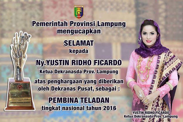 Ketua Dekranasda Lampung Aprilani Yustin Ficardo Terima Penghargaan Dekranas Pusat