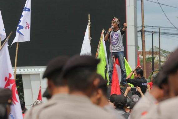 Demo Hari Buruh di Lampung tahun lalu. | Ist