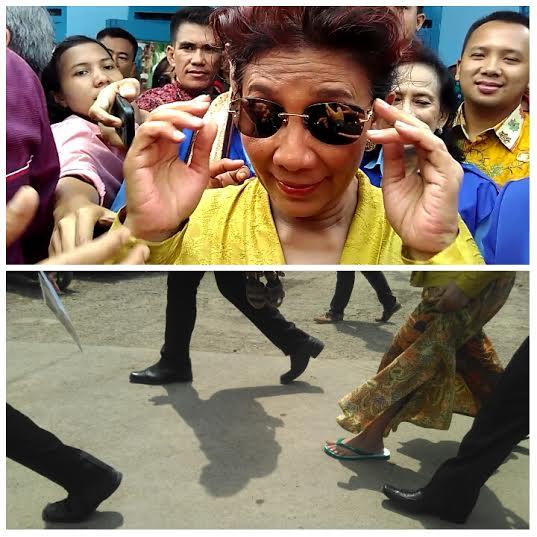 Menteri Kelautan dan Perikanan, Susi Pudjiastuti saat melakukan kunjungan di Lampung, ia terlihat hanya mengenakan sandal jepit | Andi Apriadi/Jejamo.com