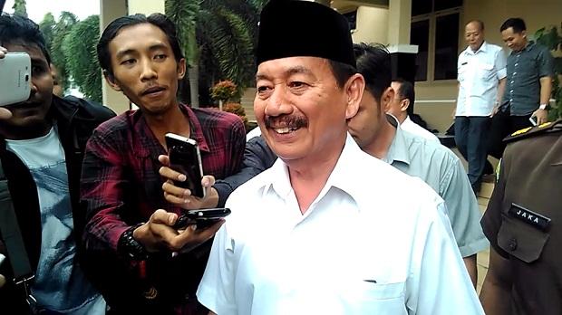 Wali Kota Bandar Lampung Herman HN, usai menjalani pemeriksaan di Kejaksaan Tinggi Lampung, Rabu, 29/6/2016 |Andi/jejamo.com