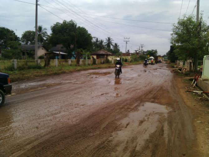 Kondisi jalan Propinsi di Desa Sawojajar Kecamatan Kotabumi Utara | Rengki/jejamo.com