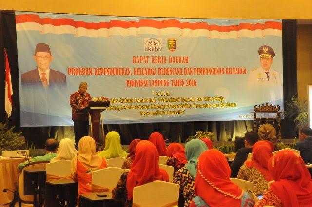 Sekretaris Daerah Provinsi Lampung Arinal Djunaidi dalam Rapat Kerja Daerah Program Kependudukan, Keluarga Berencana dan Pembangunan Keluarga (KKBPK) Provinsi Lampung di Hotel Emersia Bandar Lampung, Kamis (16/06/2016) | ist