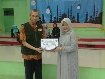Wakil Kepala SMAN 2 Bandar Lampung Bidang Kesiswaan Aryulina Amir (kanan) menyerahkan infak peserta pesantren kilat kepada IZI Lampung. | Ist