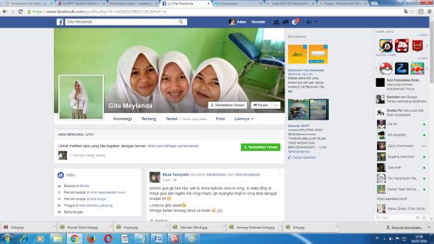 Dinding Facebook Gita Meylanda Siswi SMK Kesehatan Nurul Islam Dipenuhi Ungkapan Dukacita