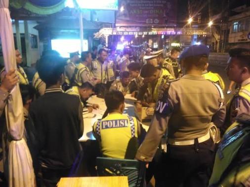 Polresta Bandar Lampung Gelar Razia Besar di Depan Pos Polisi Bambu Kuning