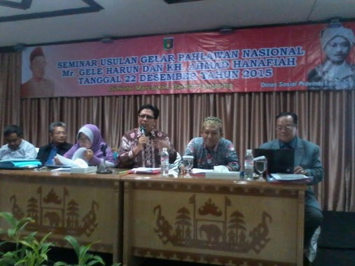 Seminar kepahlawanan Mr Gele Harun di Hotel Marcopolo pada 22 Desember 2015 oleh Dinas Sosial Lampung. | Jejamo.com