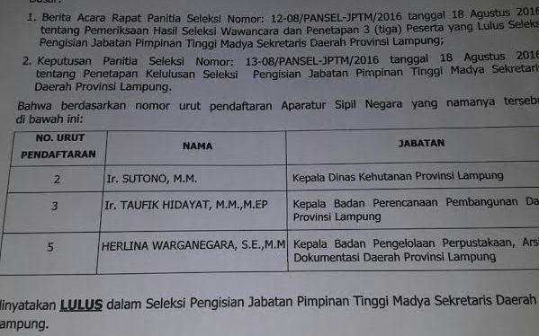 Tiga nama lolos seleksi Sekda Lampung. | Ist