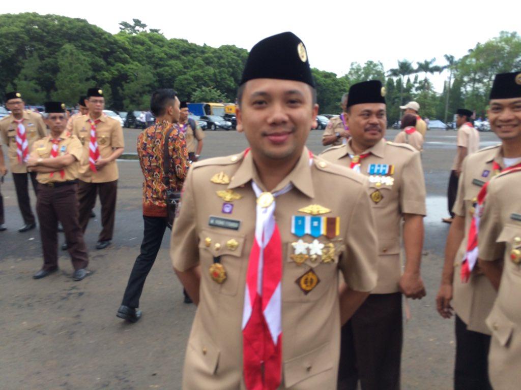 Kamabida Pramuka Provinsi Lampung M Ridho Ficardo berada di Bumi Perkemahan Cibubur, Jakarta, Minggu, 14/8/2016, untuk mengikuti kegiatan Jambore Nasional X 2016. | MRF_info