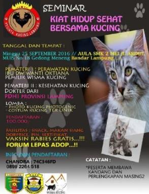 Komunitas Pecinta Kucing Lampung akan Gelar Seminar Hidup Sehat Bersama Kucing