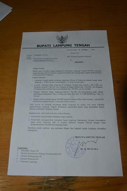 Isi Surat kepada Presiden | ist
